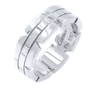 Cartier Tank Francaise 18K White Gold Ring SZ 5
